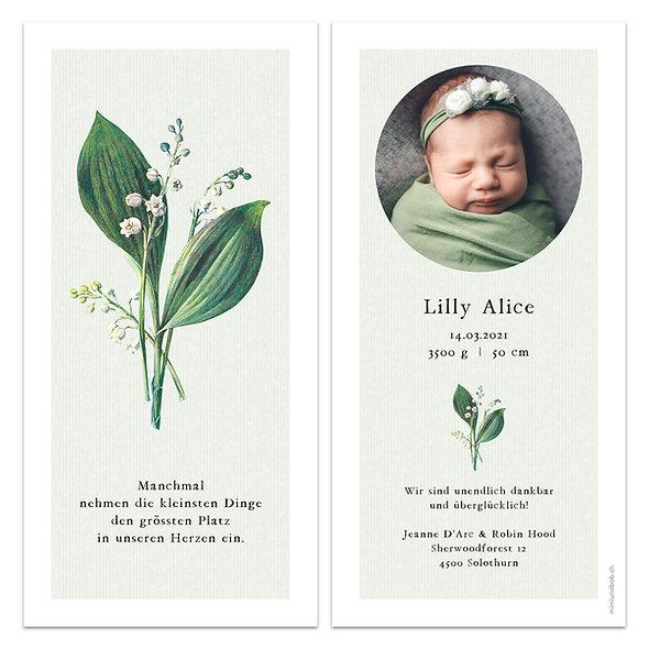 Geburtskarten Maiglöckchen Schneeglöckchen hellgrün Frühling mit Galanthus Convallaria