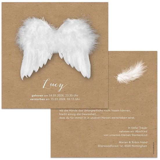 Geburtskarte Sternenkind Trauerkarte Kraftpapier mit Engelsflügel Engel und Feder
