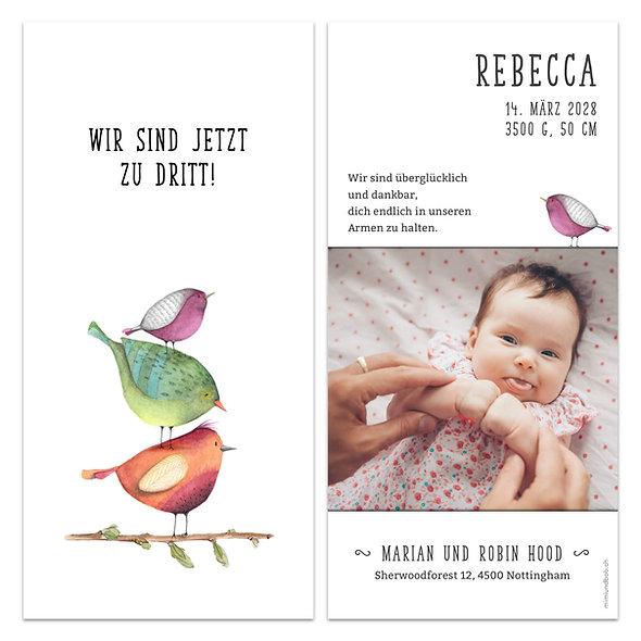 Geburtskarte drei handgemalte Vögel Vogelfamilie wir sind nun zu dritt