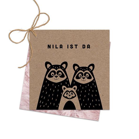 """Geburtskarte Fächerkarte Kraftpapier """"Waschbärenfamilie Nila"""""""