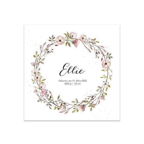 """Geburtskarte Einzelkarte """"Wildrosen Ellie"""""""
