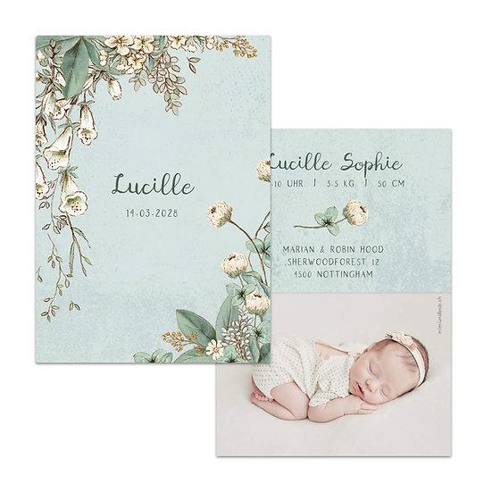 Geburtskarte Babykarte vintage boho mit blätterranken ranken und blumenranken Blumen Blüten hellblau