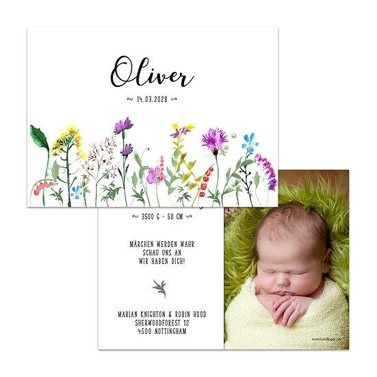 Geburtskarte Babykarte Blumen Wiesenblumen Wiese mit Blüten handgemalt gemalt Wasserfarbe