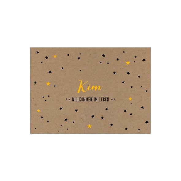 Geburtskarte Kraftpapier Muskatpapier Sterne Handlettering geschlechtsneutral gelb