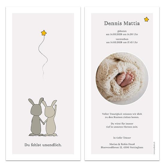 Trauerkarte Sternenkind Geburtskarte fliegender Stern traurige Hasen