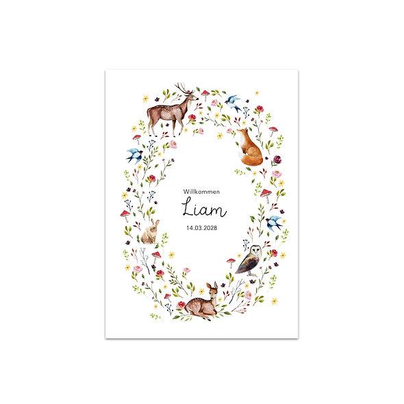 "Geburtskarte Einzelkarte ""Magic Nature Liam"""