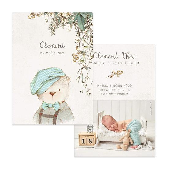 Geburtskarte Babykarte rustikal Cottage garden vintage boho mit Bär Teddybär