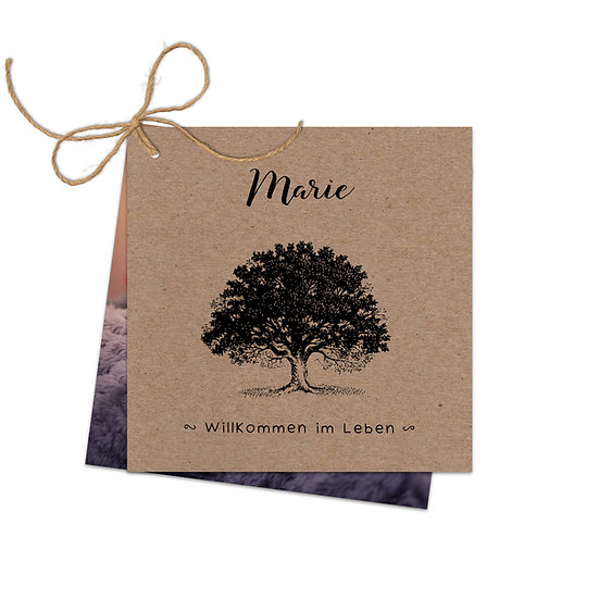 Geburtskarte Kraftpapier Baum Eiche Eichenbaum Blatt Eichenblatt