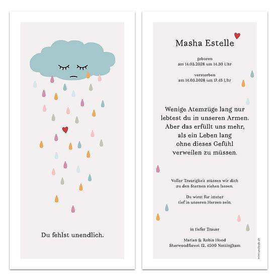 Geburtskarte Trauerkarte für Sternenkind weinende Wolke Regenwolke regnet Regen