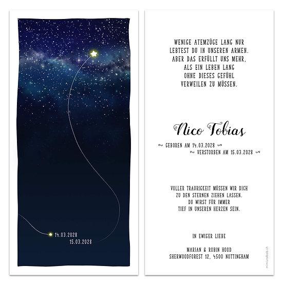 Geburtskarte Trauerkarte für Sternenkind Engelskind hochfliegender Stern am Himmel bei Sternen