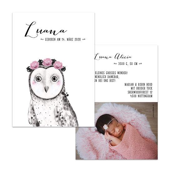 Geburtskarte Babykarte Eule mit Blumen rosa mit Handlettering