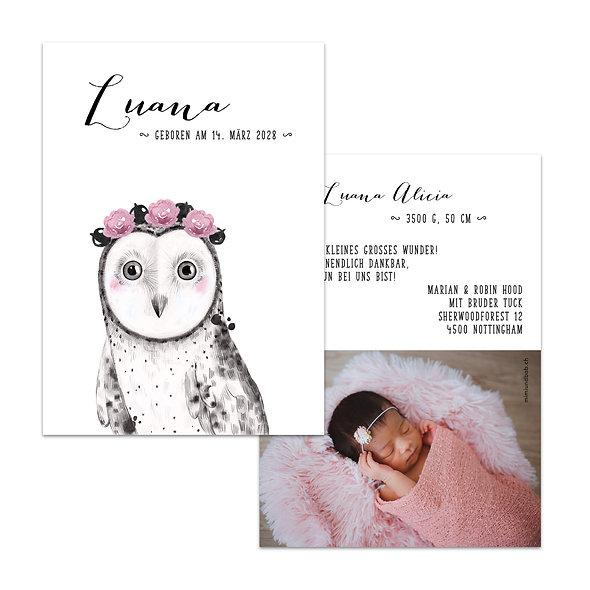 Geburtskarte aus der Schweiz mit Eule mit Blumenkranz Mädchen Rosa