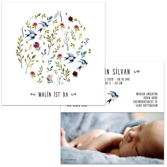 Geburtskarte Schwalbe sommervogel Sommervögel fliegender Vogel sommerlich