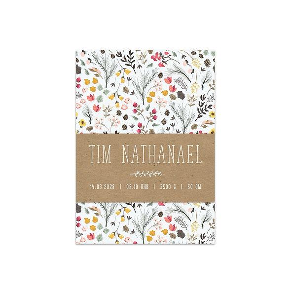 """Geburtskarte Einzelkarte """"Botanical Tim"""""""