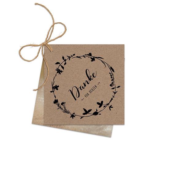 Dankeskarte Geburt Kraftpapier mit Fotokarte mit Blätterkranz im Cottage Garden Stil