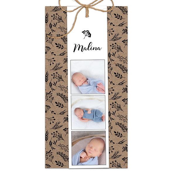 "Geburtskarte Fächerkarte Kraftpapier ""Malina"""