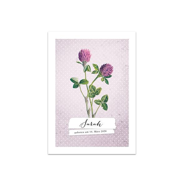 """Geburtskarte Einzelkarte """"Vintage Botanical Sarah"""""""