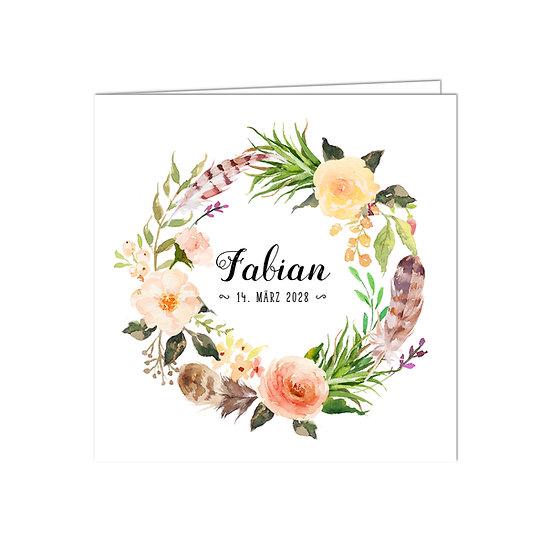 Geburtskarte Babykarte Falzkarte Klappkarte Kranz aus Federn und Blumen Blüten Boho Stil Bohemian Vintage Lachs rosa