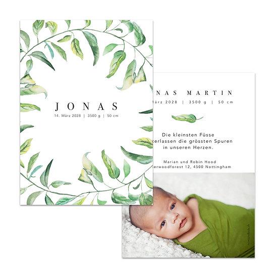 Geburtskarte Babykarte mit grünen Blättern blätterranken ranken handgemalt gemalt Wasserfarbe
