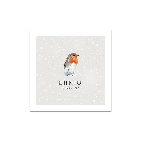 Geburtskarte winterlich Winter Schnee Vogel Rotkehlchen Schneeflocken