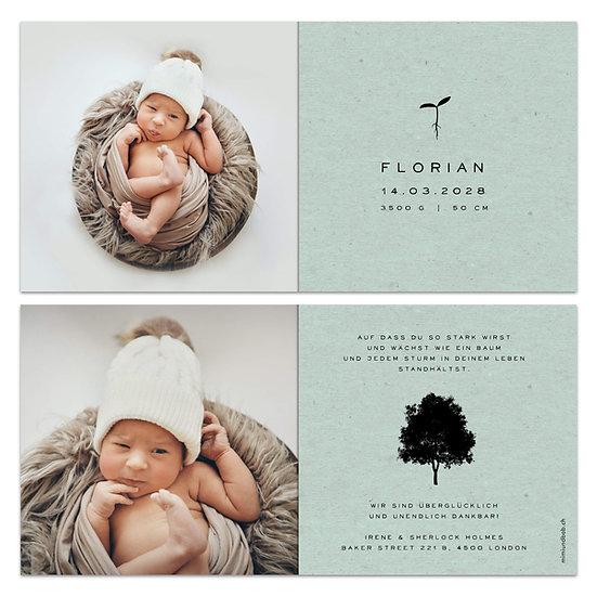 Geburtskarte Babykarte grünes Kraftpapier mit Keimling Samen und Baum