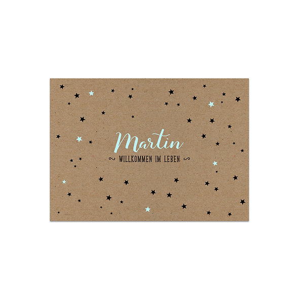Geburtskarte Kraftpapier Muskatpapier Sterne Handlettering blau