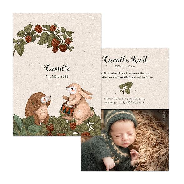 Geburtskarte Kraftpapier natürlich Brombeere sommer herbstlich Hase tierkonzert Igel Trommel Querflöte