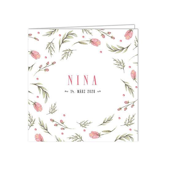 Geburtskarte Babykarte rosa Blumen Blüten rosarot für Mädchen