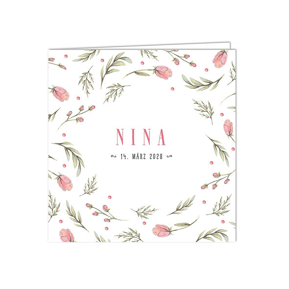 """Geburtskarte Falzkarte """"Rosa Blumen Nina"""""""