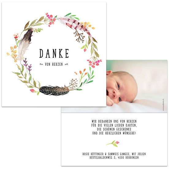 Dankeskarte Geburt Boho Blumenkranz mit Feder