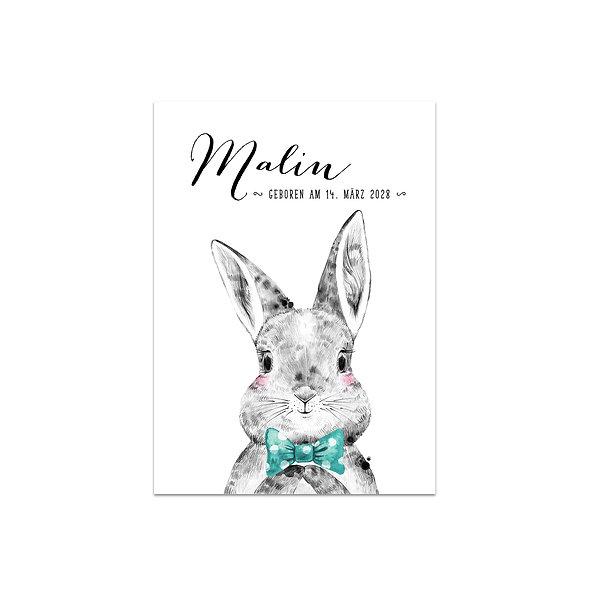 Geburtskarte Einzelkarte Woodland Handlettering Hase Häschen Junge