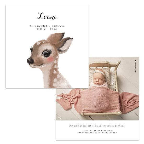 Geburtskarte Babykarte Reh Rehkitz Bambi Wasserfarbe