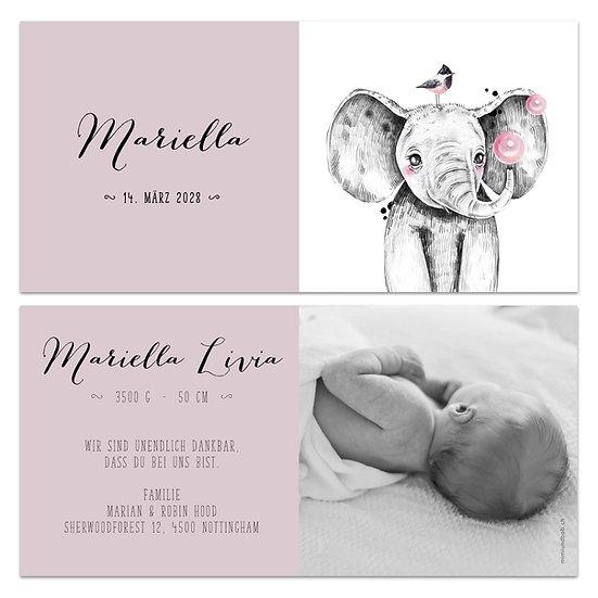 Geburtskarte Babykarte rosa Elefant mit Vogel