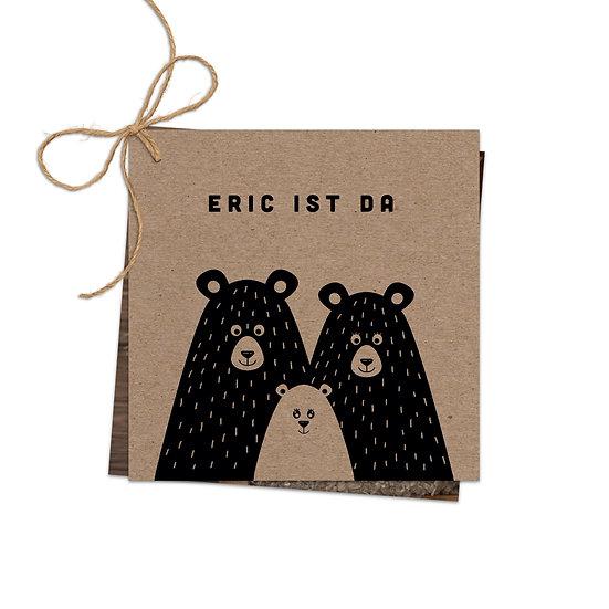 Geburtskarte Babykarte echtes Muskatpapier Kraftpapier Bär Tierfamilie Handlettering Fotokarte zwei Karten mit Schnur