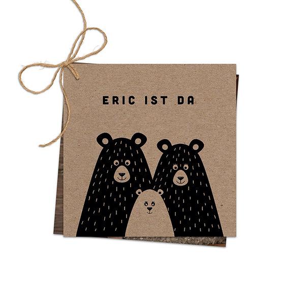 "Geburtskarte Fächerkarte Kraftpapier ""Bärenfamilie Eric"""