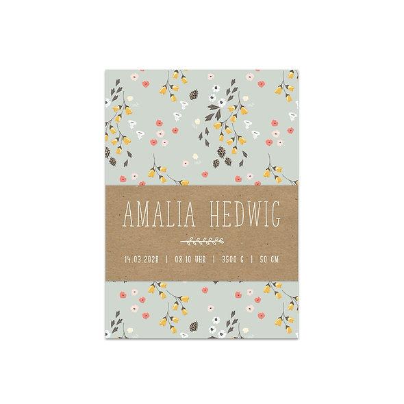 "Geburtskarte Einzelkarte ""Botanical Amalia"""