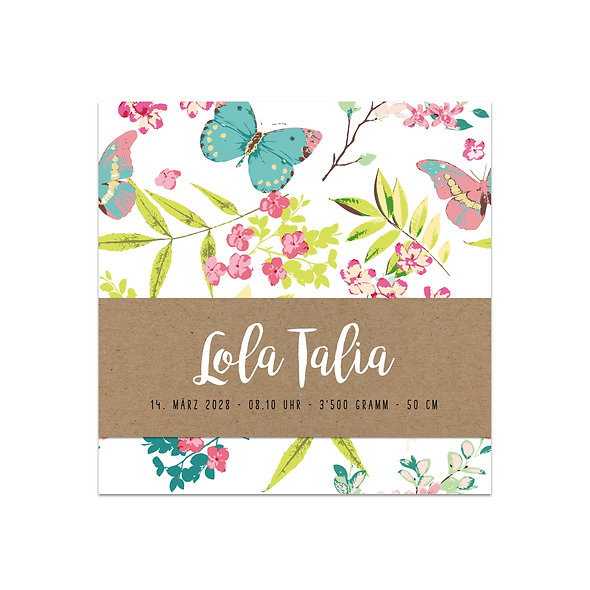 "Geburtskarte Einzelkarte ""Handlettering Lola"""