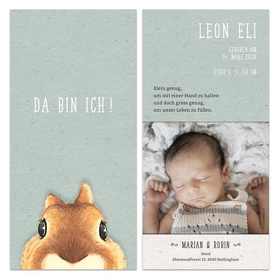 Geburtskarte Babykarte grünes Kraftpapier mit Eichhörnchen