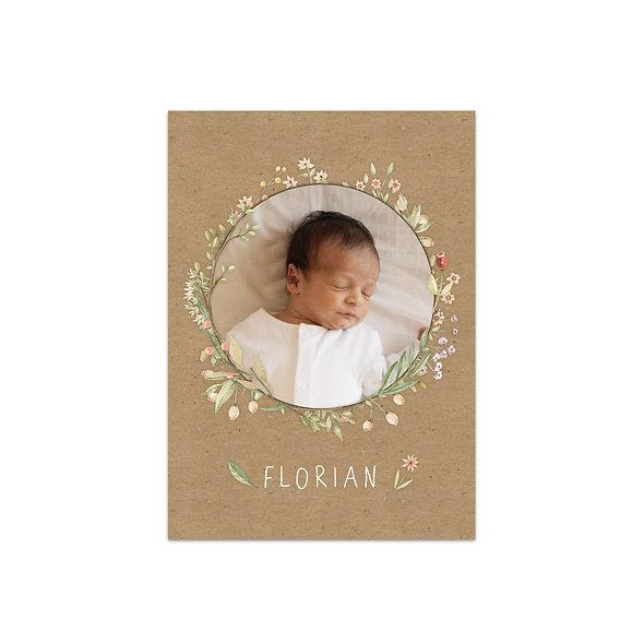 """Geburtskarte Einzelkarte """"Wildblumen Florian"""""""