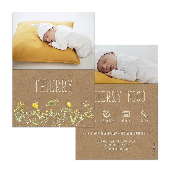 Geburtskarte Babykarte Muskatpapier gelbe Blumen Vintage Boho