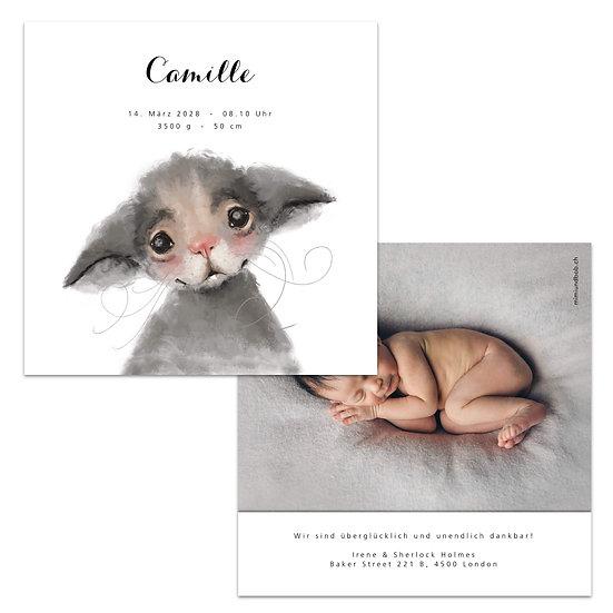 Geburtskarte Babykarte Maus Mäuschen Wasserfarbe