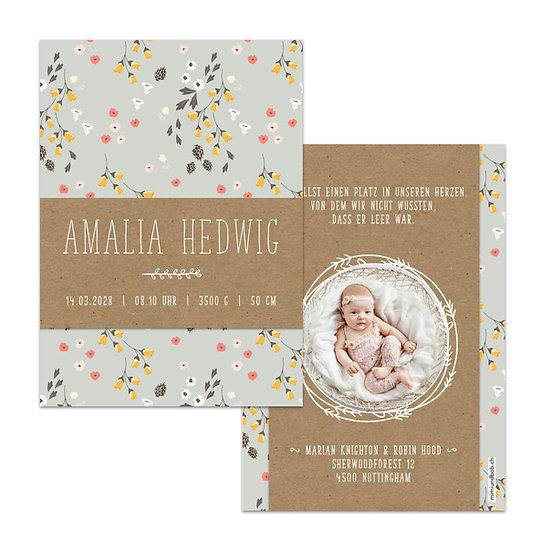 Geburtskarte Babykarte mit Kraftpapier und skandinavischem Blumenmuster und Foto in Kranz Kränzchen