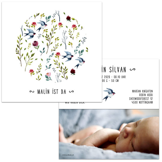 Geburtskarte Babykarte Falzkarte Klappkarte sommerlich mit Schwalbe Schwalben und Rosen Sommerblumen