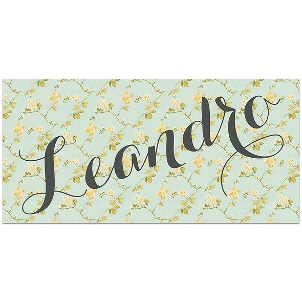 "Geburtskarte Einzelkarte ""Handlettering Vintage Leandro"""