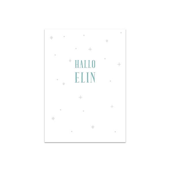 Geburtskarte Einzelkarte Schneeflocken Elin