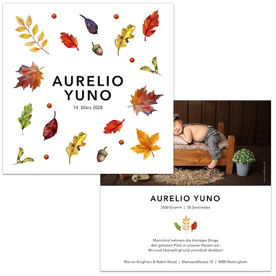 Geburtskarte Babykarte Herbst herbstlich Blätter Herbstblätter gemalt
