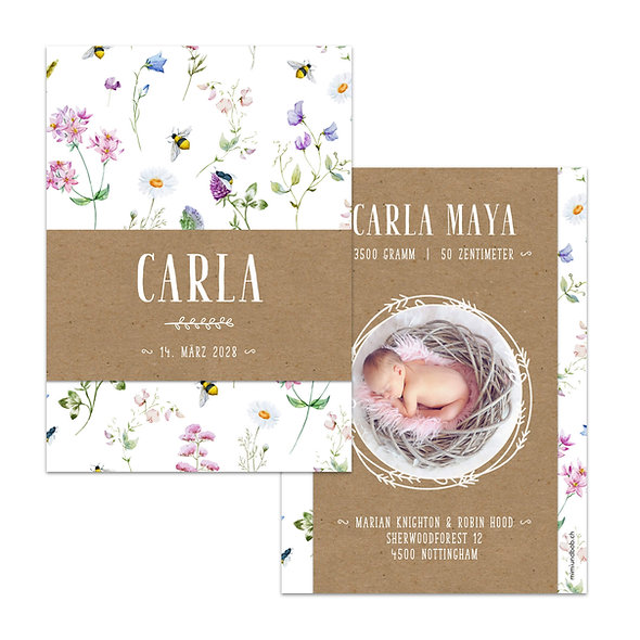 Geburtskarten Frühling Blumen Wiese Biene Margrithe Kraftpapier