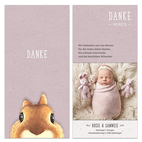 Dankeskarte Geburt rosa mit Eichhörnchen