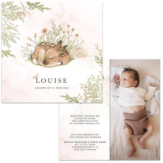 Geburtskarte Babykarte rustikal im Cottage Garden Boho Stil Wasserfarbe und schlafendes Reh