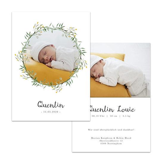 Geburtskarte Babykarte im Scandi rustic boho stil mit kranz aus blumen gelbe Blüten